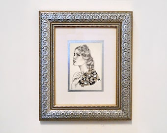 Eleanor. Beaded and embroidered graphite portrait with semiprecious stone on paper. 9 x 12.