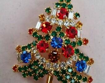 Vintage OTC Christmas Tree Rhinestone and Gold Tone Metal Brooch Pin