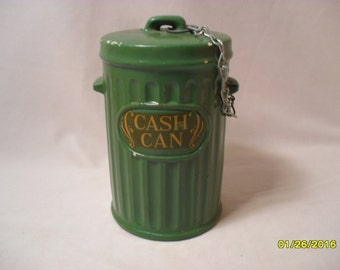 Unique Vintage Green Trash or Garbage Can Coin Piggy Money Bank