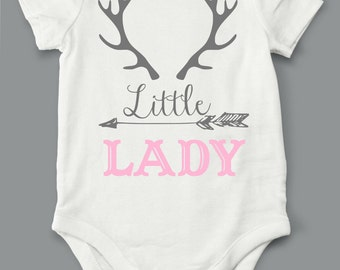 Little Lady, Onesie,  bodysuit, children clothing, baby, tops,shirt, hunting, deer