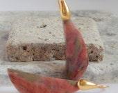 ANNIVERSARY SALE Natural Rhodonite Gemstone Drop Earrings Gold Vermeil Minimal Earrings