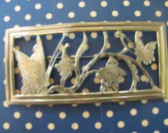 Large Vintage Brass Brooch Butterfly & Flowers Pin Jewelry 1940's