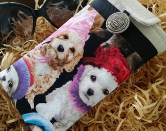"""Cushioned Eyeglass Case, Padded Eyeglass Case, Sun glass Case, , Gift For Coworker, Eyeglass Holder, """"Puppies in Hats"""" Fabric, Gift Under 20"""