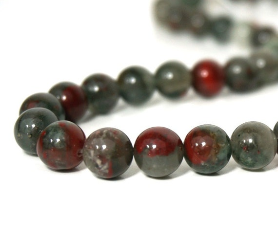 10mm round African Bloodstone gemstone beads, natural grey and red, Full & Half strands available  (116S)