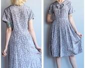 1950s Dress // Grey Skies Silk Dress // vintage 50s dress