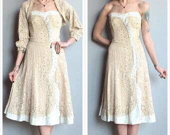 20% Sale 1950s Dress // Starry Eyed Lace & Cotton Dress // vintage 50s dress