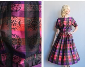 1950s Dress // Kerrybrooke Kaleidoscope Plaid Dress // vintage 50s dress