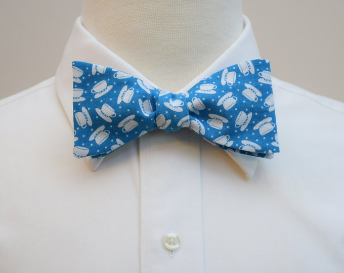 Men's Bow Tie in turquoise with white teacups, self tie, teal and white, tea lover's gift, teacups bow tie, coffee cup bow tie,