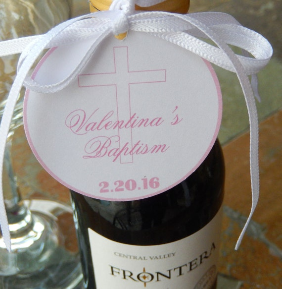 "Baptism Christening Baby Dedication Custom Thank You Tags - For Cake Pops - Mini Wine Bottles - Cookies - Favors - (50) 2"" Printed Tags"