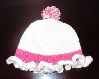 Baby's Hat with Ruffled Brim in Pink & White