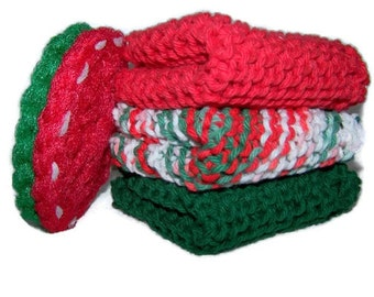 Christmas Holiday red green dish cloths with pot scrubber