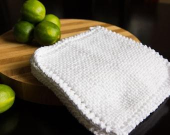 White Cotton Hand Knit Dishcloth