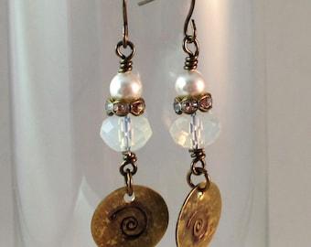 Pearls & Brass Earrings