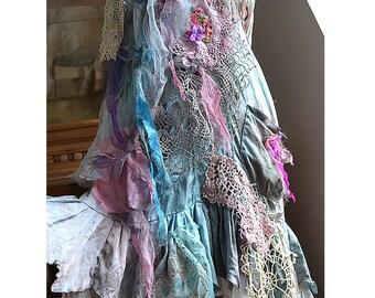 Unique Art to Wear Beautiful Silk Tunic/Dress BLUE CINDERELLA Fairy Silks Antique Deatails Boho Marie Antoinette Tattered Gipsy