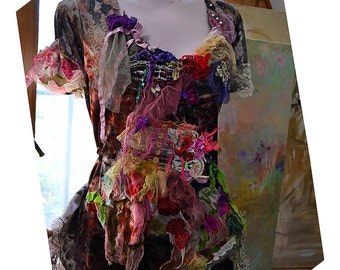 Unique Art To Wear Romantic Velvet Tunic/Top SUMMER FLOWERS And Fruits Too Raspberries Cinderella Boho Gipsy Fairy Tattered