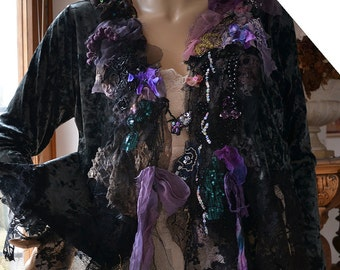 RESERVED Unique  Velvet Jacket  Black Lace Dark Forest POISONOUS BERRIES  Fairy Romantic Tattered Boho