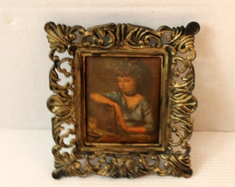 small painted fabric picture in frame vintage collectible home decor