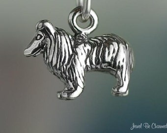 Miniature Sterling Silver Shetland Sheepdog or Collie Charm Solid .925