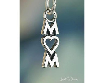 Sterling Silver Mom with Heart for Love Charm Mother Mommy Solid .925