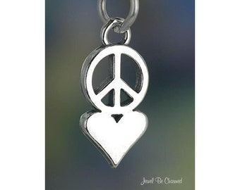 Sterling Silver Peace Love Charm Peace Sign and Heart Symbol Solid 925