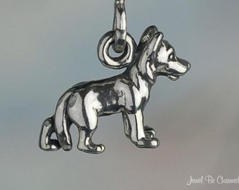 Miniature Sterling Silver German Shepherd Charm Dog Tiny 3D Solid .925