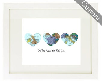 CUSTOM Three Heart Map Art Print. Print Only. You Select Locations Worldwide. Personaized Text. Travel Gifts. Bucket List. Oh The Place