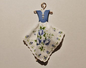 Vintage Hanky Dress soft white with blue and white floral hanky and blue bodice