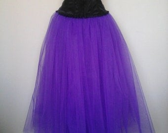 Purple Tutu Skirt Goth Tulle Lined Maxi Wedding Petticoat Prom Adult Burlesque Ballet Long US Size