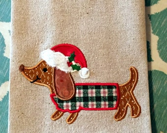 Kitchen Towel - Christmas Dachshund Country