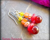 Red Lampwork Glass Earrings, African Earrings, Trade Bead Earrings, Recycled Glass, Indian Glass, Colorful Earrings, African Jewelry