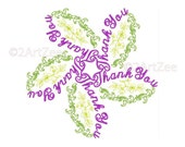 Thank You Word Flower Machine Embroidery Design 3 Sizes Thanks Teacher Parent