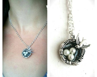 Bird Nest Charm Necklace - Cute