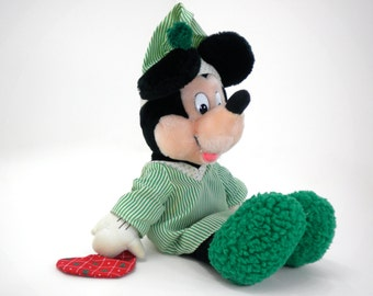 Mickey Mouse Christmas stocking stuffer, plush stuffed animal Disney collector toy gifts for children boys girls, green red black and white