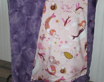 Baby Blanket, minky blanket, girl baby blanket, ShipsToday,  Mermaid Minky blanket, Mermaid minky baby blanket, Minky blanket 30 x 38