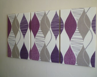 Big Fabric Wall Art Purple Teal Lime Green Orange Red choices Funky Retro Designer cotton canvas-weight Tryptich Picture Wall Hanging
