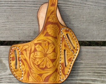 Custom Tooled Leather Pancake Holster for a Glock with Tactical Light.