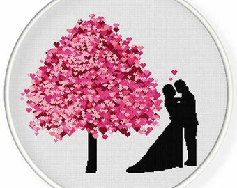 INSTANT DOWNLOAD,Free shippingCounted Cross-Stitch PDF,couples,valentine's day, wedding,zxxc0961