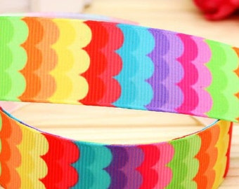 "Lot 3 yards Colorful Rainbow Grosgrain 7/8"" Ribbon, Hair Bow Ribbon, Sewing Ribbon, Scrapbooking,"