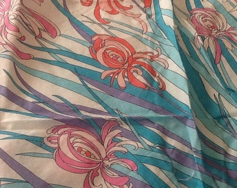 Vintage EMILIO PUCCI Scarf Extra Large Cotton Scarf Iris Flowers Pink, Purple, Blue