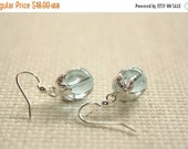 NEWYEARSALE Blue Crystal Glass Earrings, Sterling Silver Leaves, Sterling Silver Ear Wires
