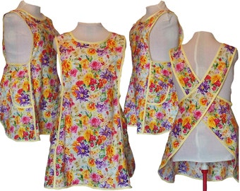Plus size Apron, Cross back apron, No Tie Apron - Bright Summer Flowers - Made to Order sizes XL, 2XL, 3XL, 4XL