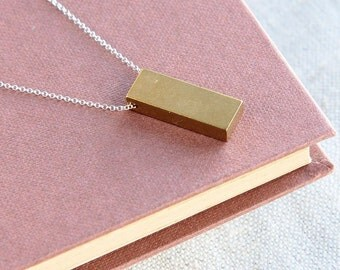 SALE, Rectangle Necklace, Rectangle Pendant, Solid Brass Rectangle Necklace, Geometric Necklace, Simple Jewelry, Minimalist Jewelry