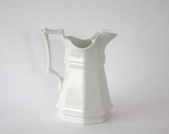 Vintage White Ironstone Pitcher, Red Cliff Ironstone