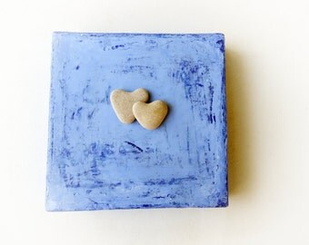 Unique Birthday Gift for Her - heart shaped beach rock on canvas - Natural Beach Rocks - Beach House Decor - Special Wall Decor - S70