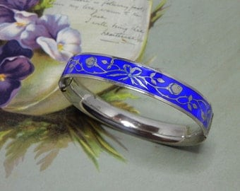 Sterling Silver & Blue Enamel Hinged Bangle Bracelet    NAZ25