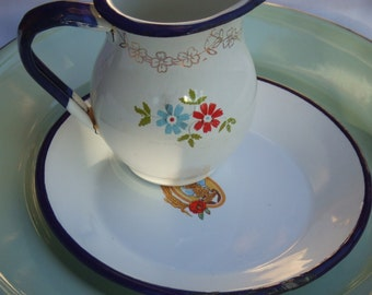 Mismatched Set of Saucer and Small Pitcher or Creamer. Enamel in White with Blue Trim.