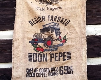 Large Vintage Costa Rics Coffee Bean Burlap Sack with Jeep / Tuck; Large Industrial Farm Sack