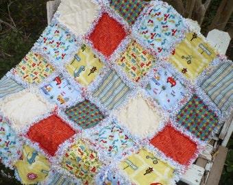 Baby Boy Rag Crib Quilt - Modern and Fun Cars on Cruiser Blvd Riley Blake in Green Yellow Orange Ready to Ship