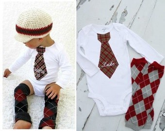 Baby Boy Tie Outfit Burgundy Plaid, Personalized Tie Bodysuit & Argyle Leg Warmers. Baby's First Birthday and Holiday, Plaid Burgundy Navy