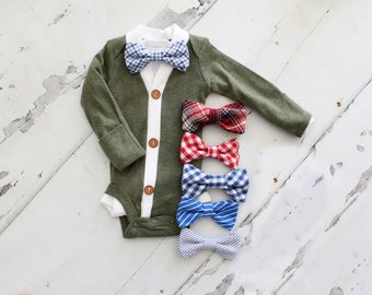 NEW Baby Boy Cardigan and Bow Tie Set.   Trendy Baby Boy, Cardigan Sweater Onesie.  1st Birthday Outfit.  Tie Onesie, Thanksgiving, Holiday